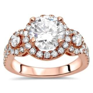 Noori 14k Rose Gold 1 1/4 ct Round Moissanite Center 3/4ct Diamond Surrounding Engagement Ring 7mm