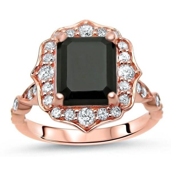 Noori 14k Rose Gold 2 1/5 ct Black Diamond Emerald Cut Vintage Style Engagement Ring