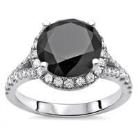 Noori 14k White Gold 2 3/4 ct Black Round Diamond Split Shank Engagement Ring