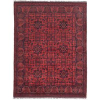 eCarpetGallery Black/ Red Wool Finest Khal Mohammadi Hand-knotted Rug (5'x6'6)