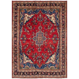 eCarpetGallery Hamadan Red Hand-knotted Wool Rug - 7'0 x 10'3