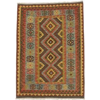 eCarpetGallery Blue/Brown Wool Flatweave Hereke Kilim Rug (4'8 x 6'5)