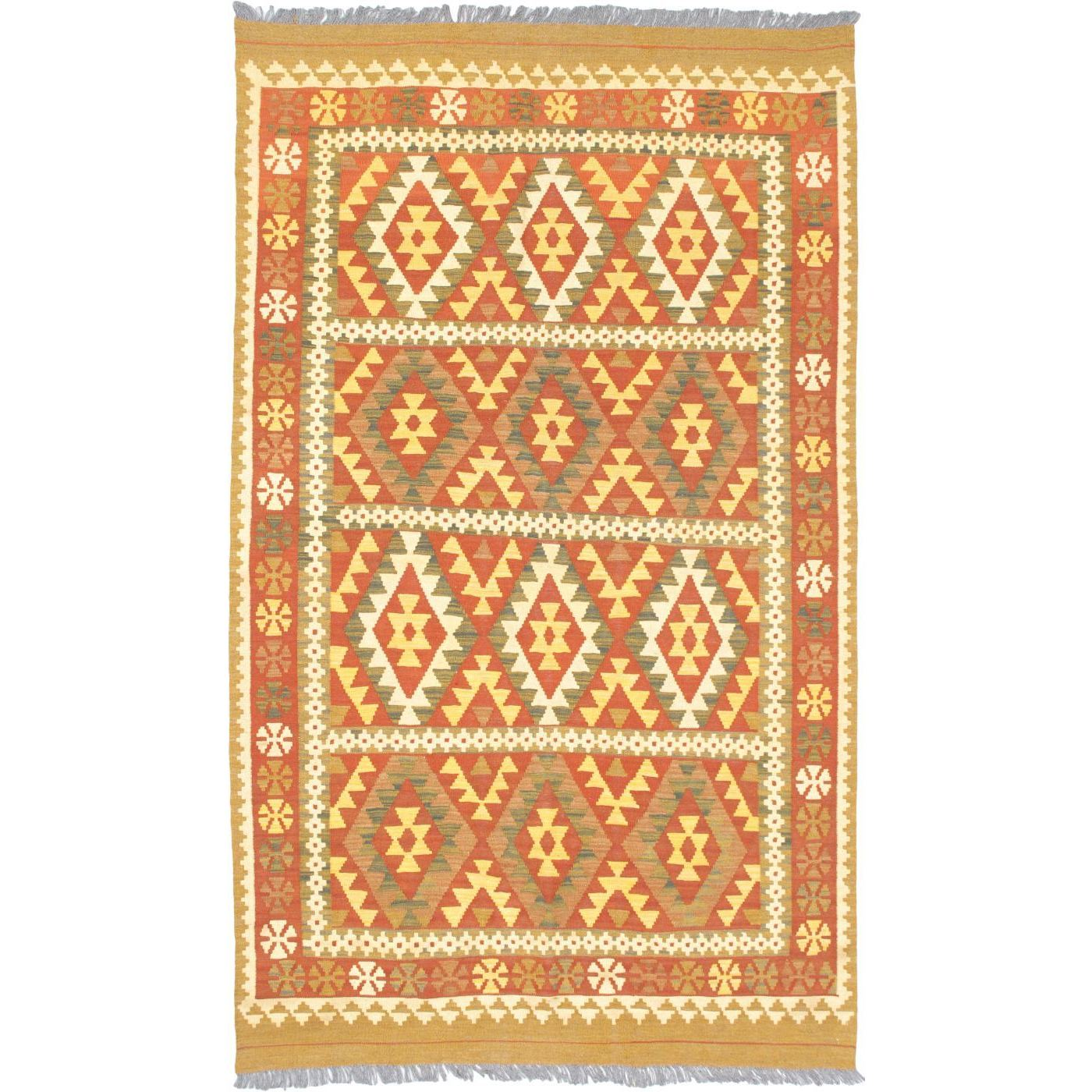 eCarpetGallery Flatweave Hereke Orange Wool Kilim (50 x 85) (Orange Kilim (5 x 8))