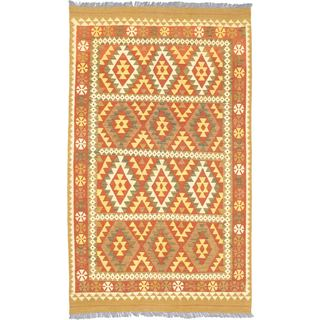 eCarpetGallery Flatweave Hereke Orange Wool Kilim (5'0 x 8'5)