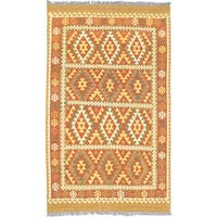 eCarpetGallery Flatweave Hereke Orange Wool Kilim - 5'0 x 8'5