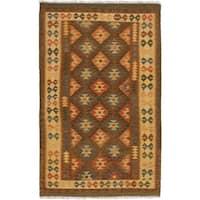 eCarpetGallery Istanbul Yama Brown Wool Flatweave Kilim Rug - 4'1 x 6'6