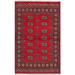 eCarpetGallery Hand-knotted Peshawar Bokhara Red Wool and Cotton Rug - 3'2 x 5'3