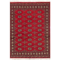 eCarpetGallery Peshawar Bokhara Red Wool/Cotton Hand-knotted Rug - 4'2 x 6'2