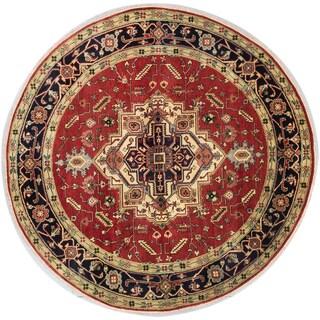 eCarpetGallery Serapi Heritage Black/Brown Wool Hand-knotted Round Rug (8' x 8')
