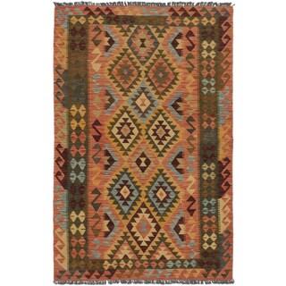 eCarpetGallery Flatweave Sivas Brown/Yellow Wool Kilim - 4'3 x 6'6
