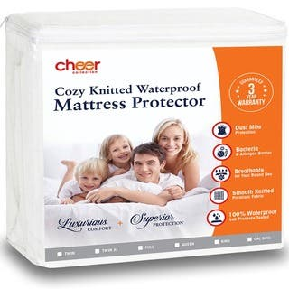 Cheer Collection Knitted Fabric Waterproof Mattress Protector|https://ak1.ostkcdn.com/images/products/17040227/P23317412.jpg?impolicy=medium