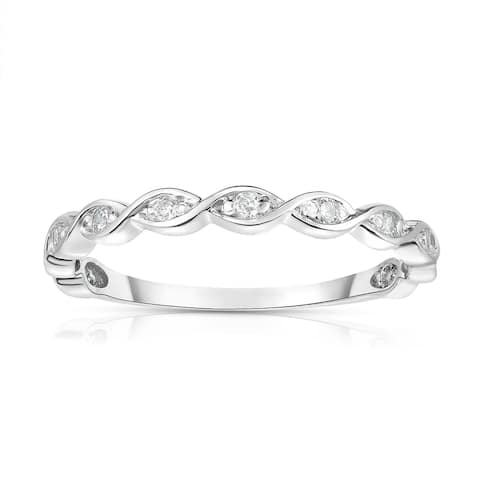 Noray Designs 14K White Gold Diamond (0.07 Ct, G-H Color, SI2-I1 Clarity) Braided Stackable Ring - White G-H - White G-H