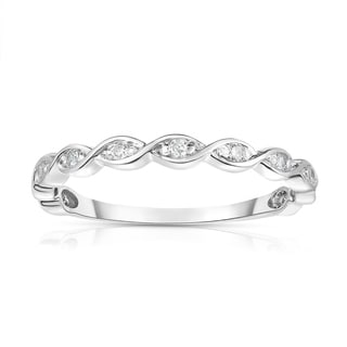 Noray Designs 14K White Gold Diamond (0.07 Ct, G-H Color, SI2-I1 Clarity) Braided Stackable Ring - White G-H