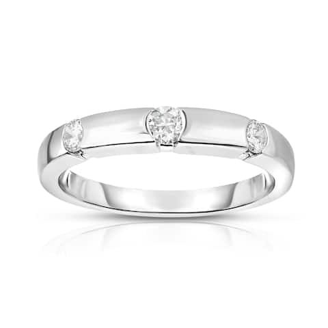 Noray Designs 14K White Gold 3-Stone Channel Set Diamond (0.22 Ct, G-H Color, SI2-I1 Clarity) Ring - White G-H
