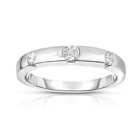 Noray Designs 14K White Gold 3-Stone Channel Set Diamond (0.22 Ct, G-H Color, SI2-I1 Clarity) Ring - White G-H - White G-H