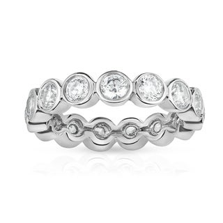 Noray Designs 14K White Gold Bezel Set Diamond (2.30 Ct-2.85 Ct, G-H Color, SI2-I1 Clarity) Eternity Ring - White G-H
