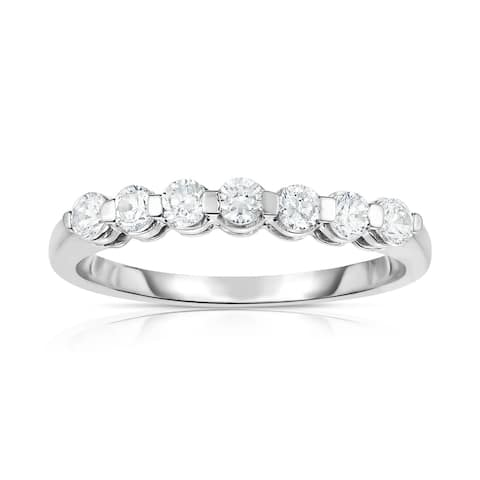 Noray Designs 14K White Gold 7-Stone Single Prong Diamond (0.45 Ct, G-H Color, SI2-I1 Clarity) Ring - White G-H - White G-H
