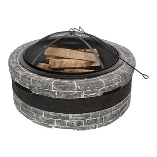 28-In. Cast Stone, Wood Burning Fire Pit (Charcoal Gray)
