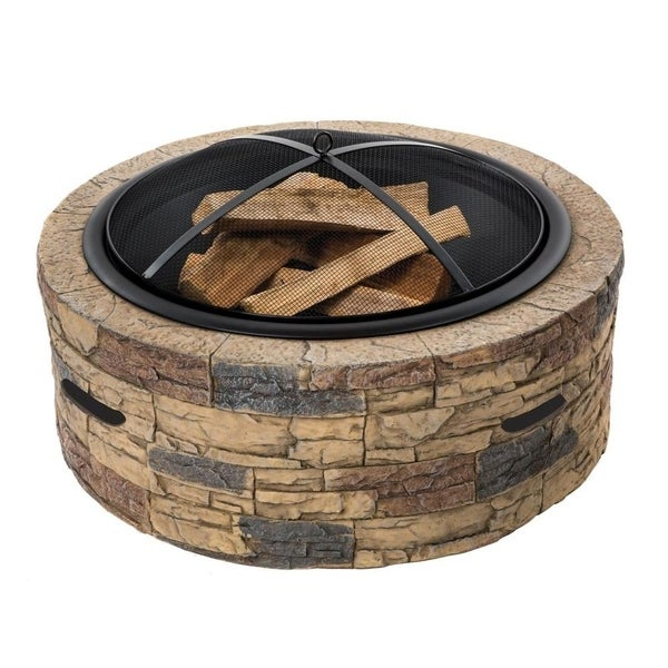 28-In. Cast Stone, Wood Burning Fire Pit