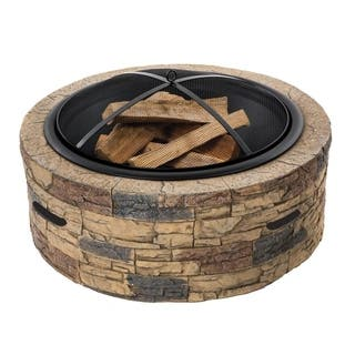 28-In. Cast Stone, Wood Burning Fire Pit (Classic Stone)