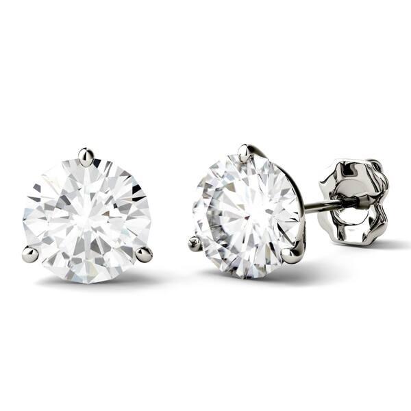 4b9929278 Charles & Colvard 14k White Gold 3ct DEW Round Forever One Colorless  Moissanite Martini Stud Earrings