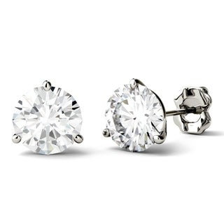 Charles & Colvard 14k White Gold 3ct DEW Round Forever One Colorless Moissanite Martini Stud Earrings