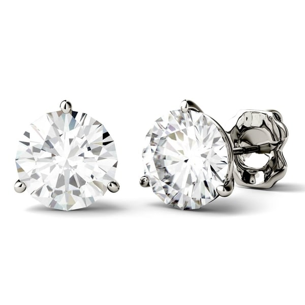 Charles & Colvard 14k White Gold 3 4/5ct DEW Round Forever One Colorless Moissanite Martini Stud Earrings
