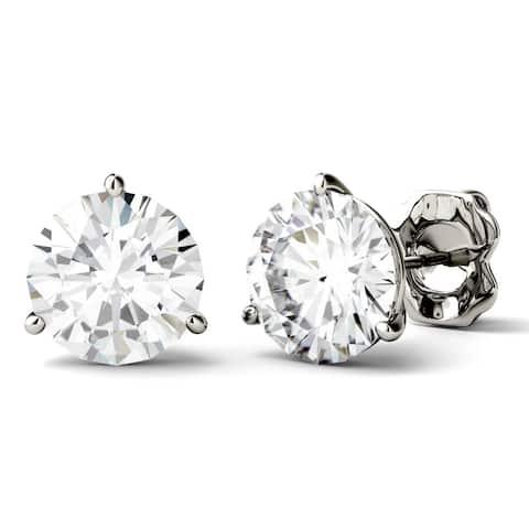 Charles & Colvard 14k White Gold 3 4/5ct DEW Round Forever One Colorless Moissanite Martini Stud Earrings