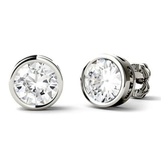 Charles & Colvard 14k White Gold 2ct DEW Round Forever One Colorless Moissanite Bezel Stud Earrings