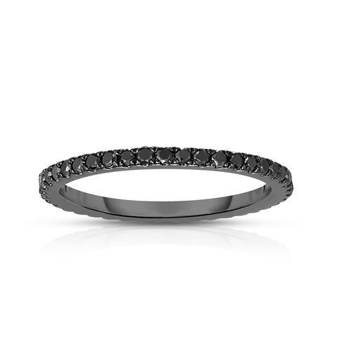 Noray Designs 14K White Gold Black Diamond (0.45 Ct, Black Color, SI2-I1 Clarity) Eternity Wedding Band