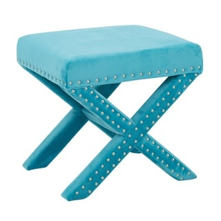 Ave Six Katie Micro Velvet Bench with Silver Nail Heads
