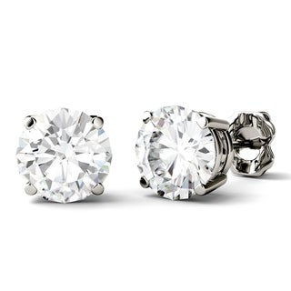 Charles & Colvard 14k White Gold 3ct DEW Round Forever One Colorless Moissanite Stud Earrings