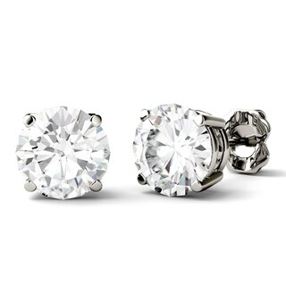 Charles & Colvard 14k White Gold 3ct DEW Round Forever One Colorless Moissanite Stud Earrings