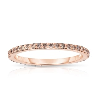 Link to Noray Designs 14K Rose Gold Champagne Diamond (0.40 Ct, Brown Color, I1-I2Clarity) Eternity Wedding Band Similar Items in Wedding Rings
