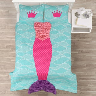 Lush Decor Mermaid Ruffle 3-piece Quilt Set (Options: Pink, Twin)