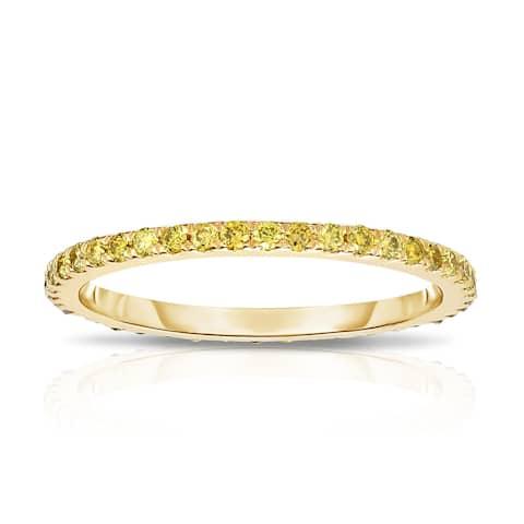 Noray Designs 14K Yellow Gold Yellow Diamond (0.40 Ct, Yellow Color, I1-I2 Clarity) Eternity Wedding Band
