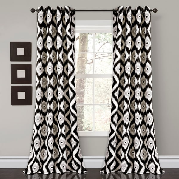 Lush Décor Diamond Ikat Room Darkening Window Curtain Panel Set