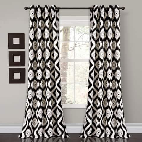 """Lush Decor Diamond Ikat Room Darkening Window Curtain Panel Set - 52""""W x 84""""L"""