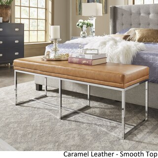 Bryn Chrome Base Bench by iNSPIRE Q Bold (Option: Caramel Leather Gel - Smooth Top)