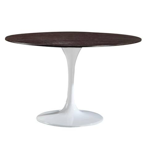 """Daisy 48"""" Walnut Top Dining Table with White Base"""