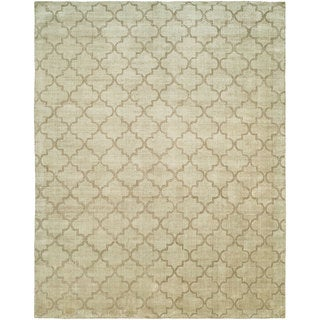 Avalon Chino Hand-made Beige Wool and Viscose Area Rug (12' x 15') - 12' x 15'