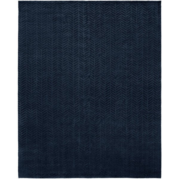 Avalon Midnight Blue Wool/Viscose Handmade Area Rug (12' x 15')
