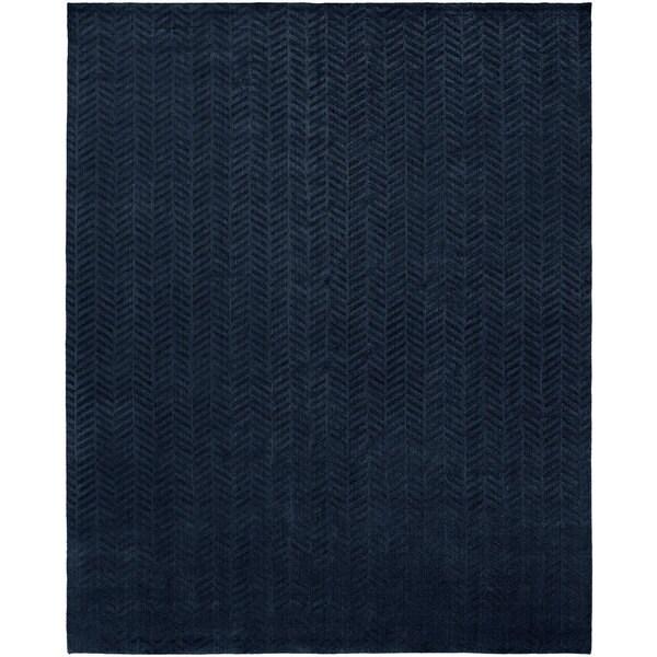 Avalon Midnight Blue Wool/Viscose Handmade Area Rug - 12' x 15'
