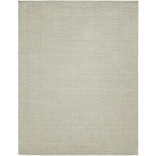 Avalon Pearl Grey Geometric Handmade Area Rug (12' x 15')