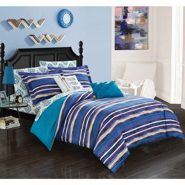 Chic Home Marisol Blue Reversible 9-Piece Bed in a Bag Set