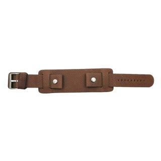 Brown Wide Leather Cuff Watch Band (20mm, 22mm, 24mm)