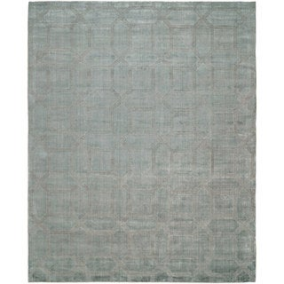 Avalon Crystal Blue and Grey Handmade Area Rug (8' x 10') - 8' x 10'