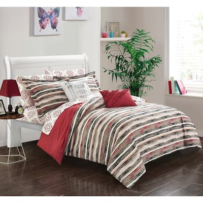 Chic Home Marisol Brick Reversible 9-Piece Bed in a Bag Set