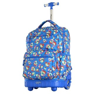 Olympia USA Melody Blue Flower 19-inch Rolling Backpack