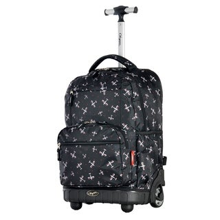 Olympia USA Melody Black Plane 19-inch Rolling Backpack